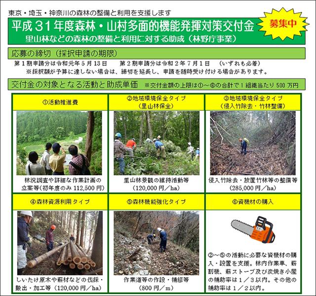 平成31年度森林・山村多面的機能発揮対策交付金募集チラシ